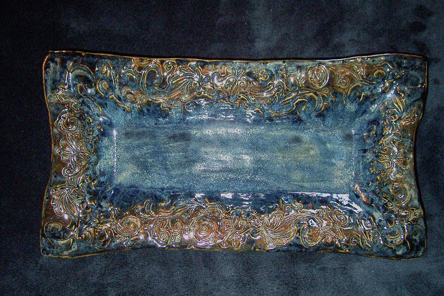 Flourish Slab Tray Licorice Glaze Ceramic Art