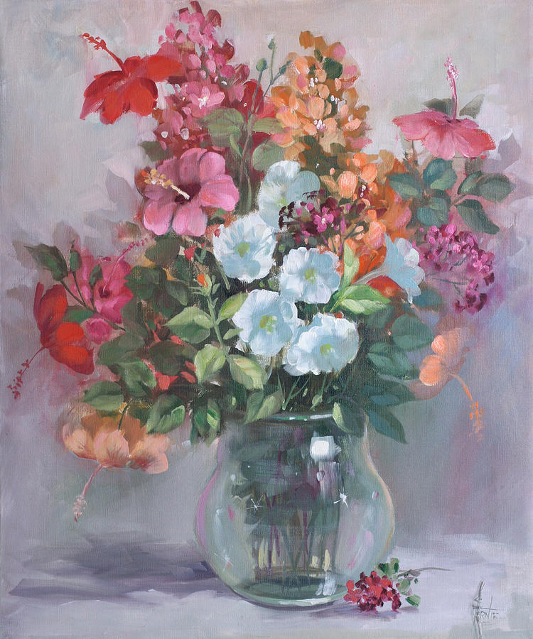 Flower arrangement in glass vase 2586 painting by fernie taite - Flower arrangements for vases ...
