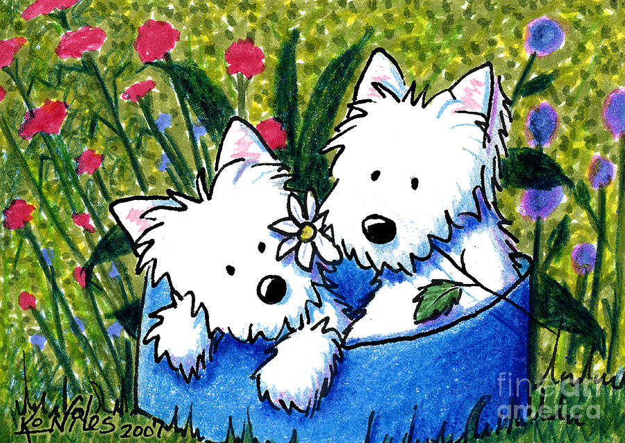 Flower Bed Westies Painting  - Flower Bed Westies Fine Art Print