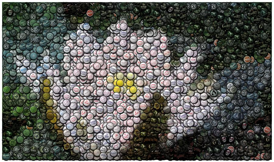 Flower Bottle Cap Mosaic Digital Art  - Flower Bottle Cap Mosaic Fine Art Print