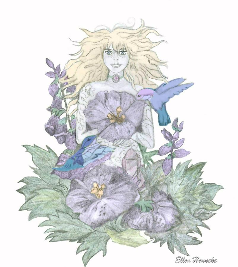 Flower Fairy Drawing  - Flower Fairy Fine Art Print
