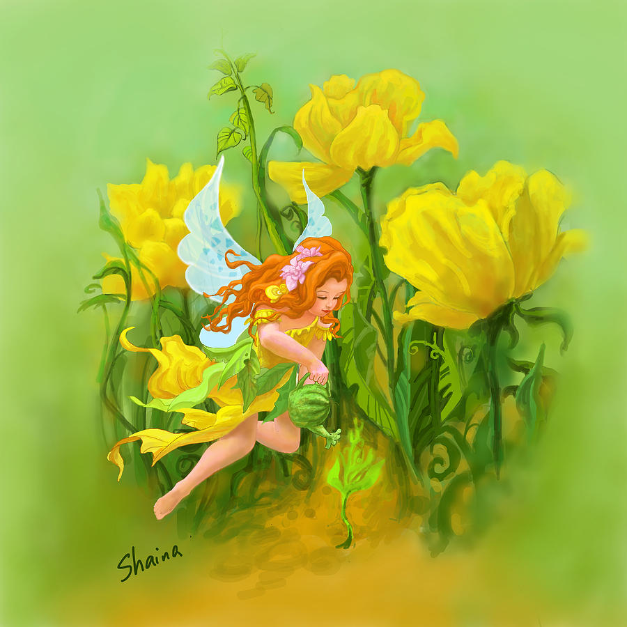 Flower Fairy Digital Art  - Flower Fairy Fine Art Print