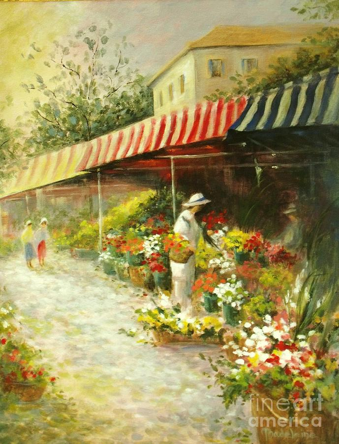 Flower Market Painting  - Flower Market Fine Art Print