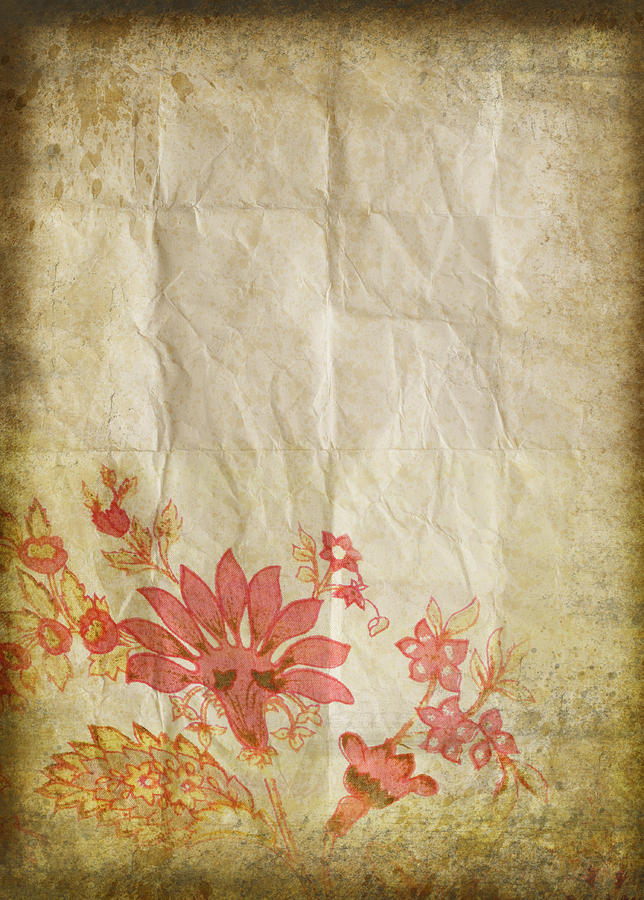 Flower Pattern On Old Paper Photograph  - Flower Pattern On Old Paper Fine Art Print