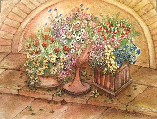A Selection Of Flower Post Painting - Flower Pots 2 by Cecilia Putter
