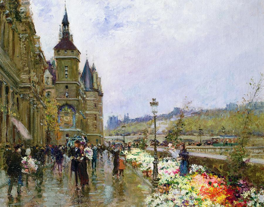 Flower Sellers By The Seine Painting