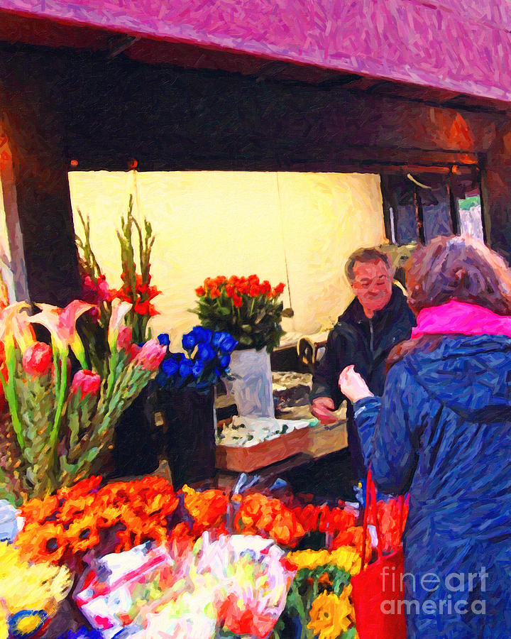 Flower Stand On Stockton And Geary Street . Photoart Photograph