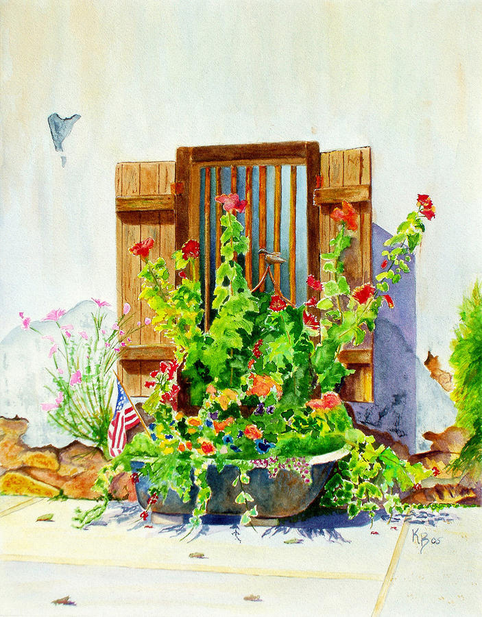 Flower Tub Painting  - Flower Tub Fine Art Print
