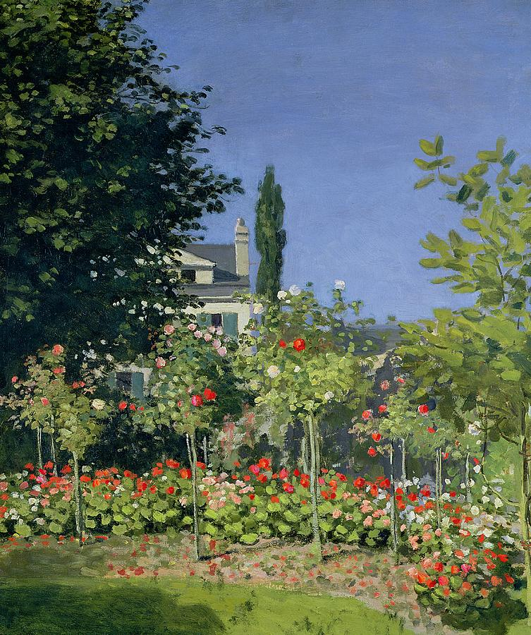 Flowering Garden At Sainte-adresse Painting  - Flowering Garden At Sainte-adresse Fine Art Print