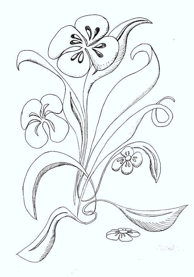 Flowers having a good day drawing by denny casto for How to draw a really good flower