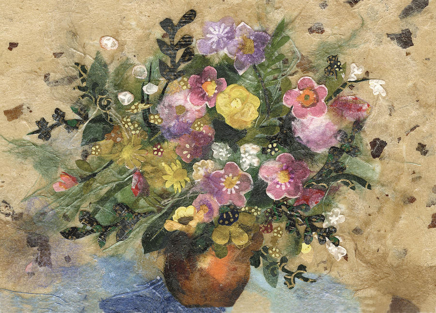 Flowers In A Clay Vase Painting  - Flowers In A Clay Vase Fine Art Print