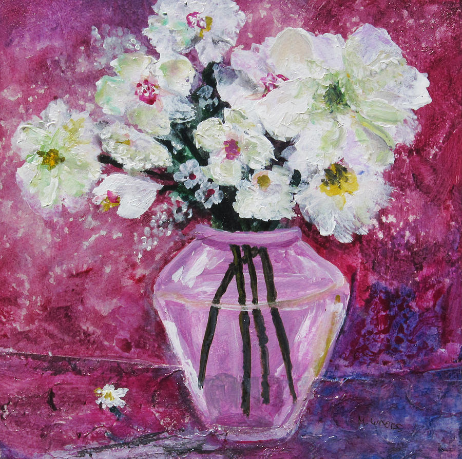 Flowers In A Magenta Room Painting  - Flowers In A Magenta Room Fine Art Print