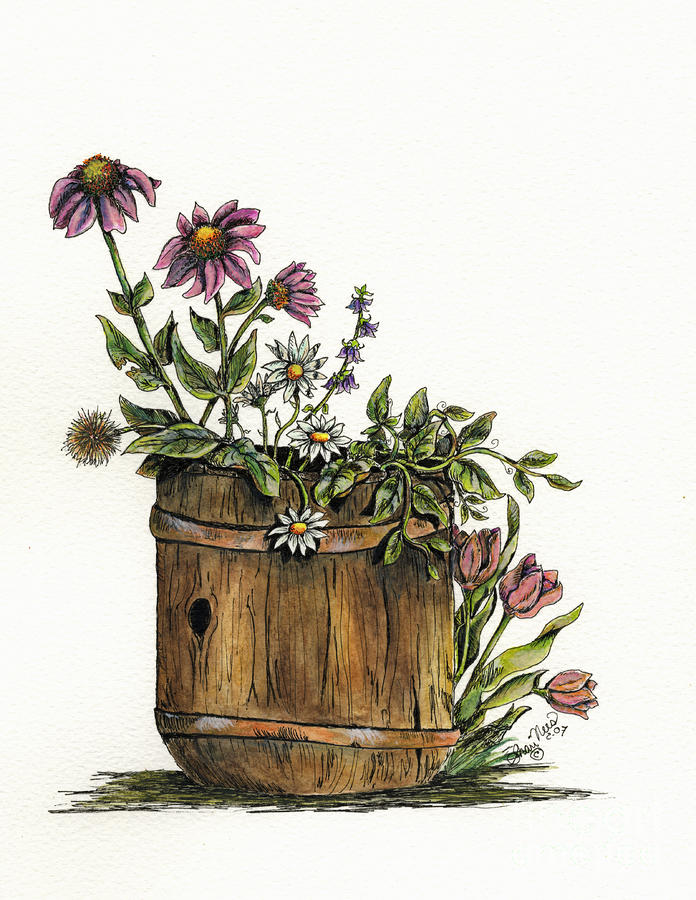 Flowers In Barrel Painting  - Flowers In Barrel Fine Art Print