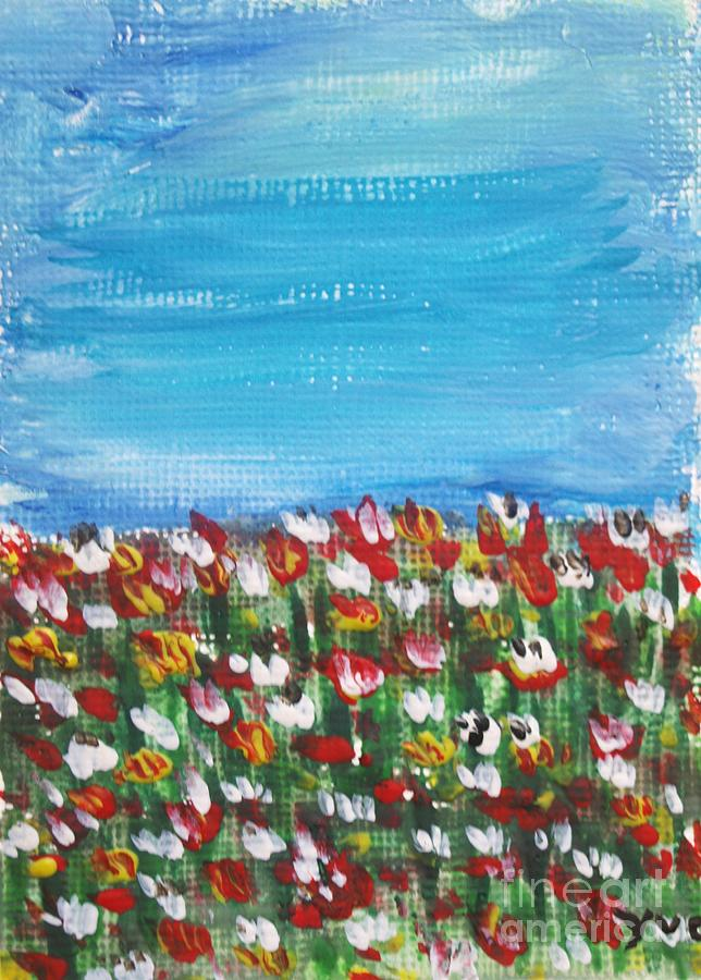 Flowers In Garden Painting  - Flowers In Garden Fine Art Print