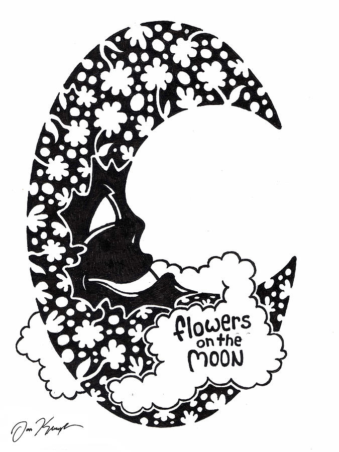 Flowers On The Moon Drawing