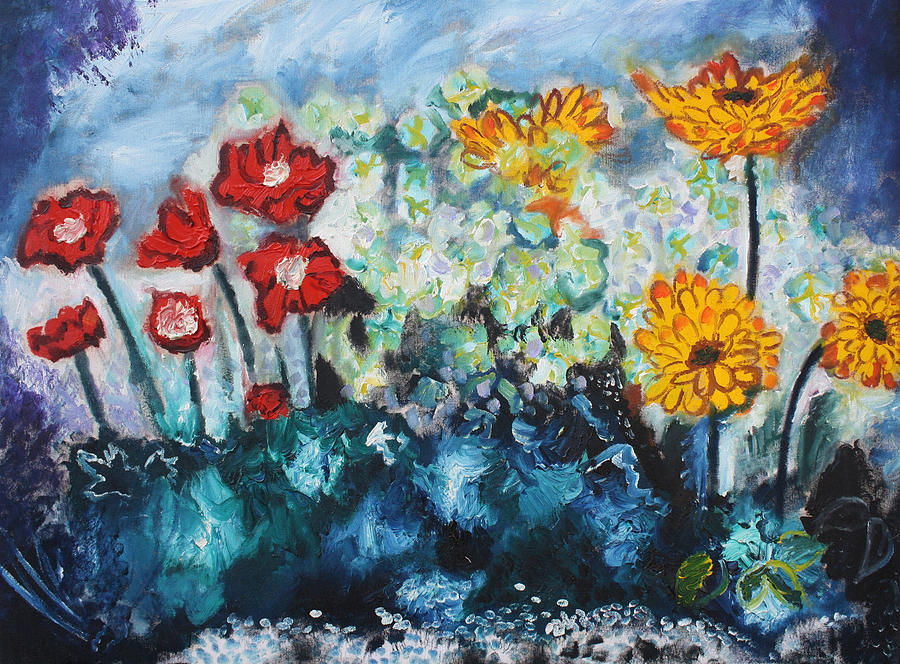 Flowers Through The Storm Painting  - Flowers Through The Storm Fine Art Print