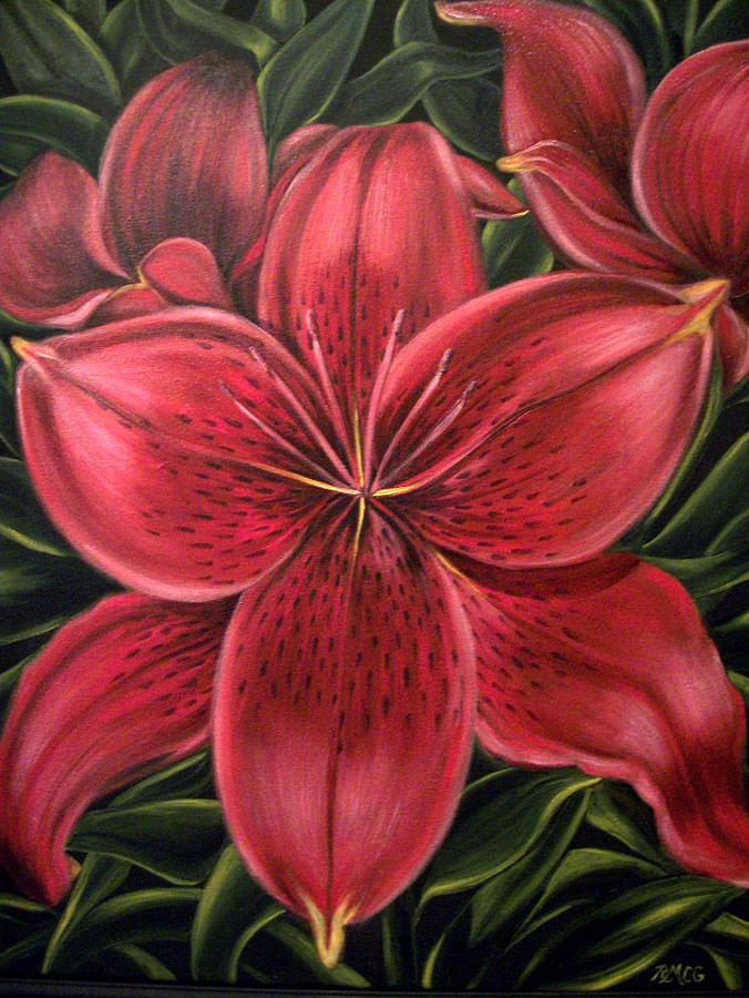 Flowers Wearing Red Painting