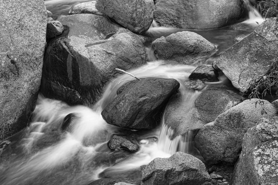 Flowing Water Down The Colorado St Vrain River Bw Photograph  - Flowing Water Down The Colorado St Vrain River Bw Fine Art Print