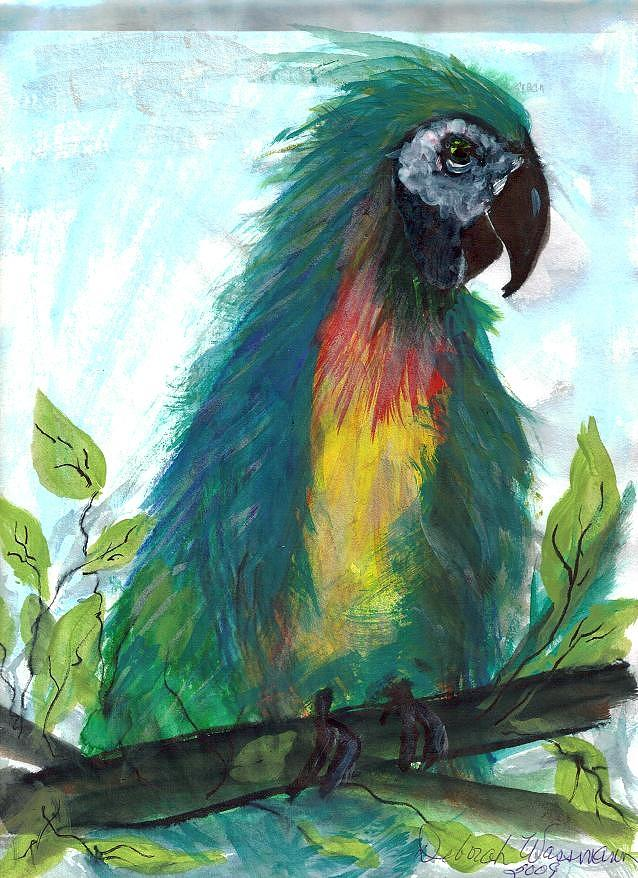 Green parrot painting - photo#13