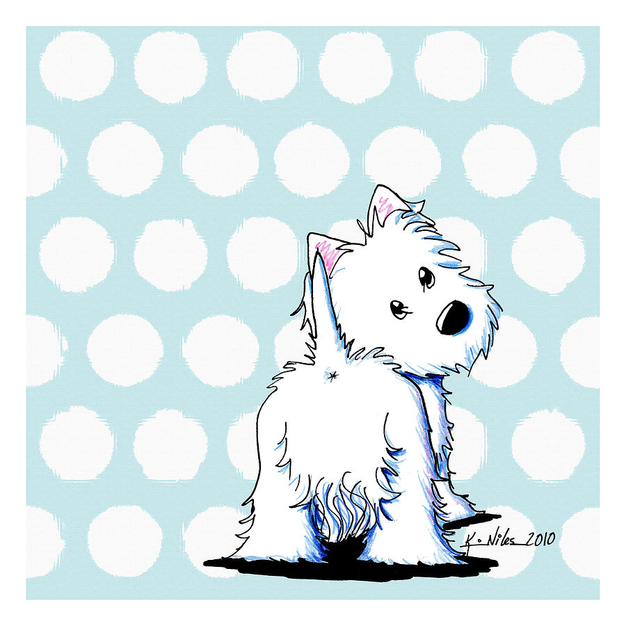 Fluffy Butt Westie Drawing