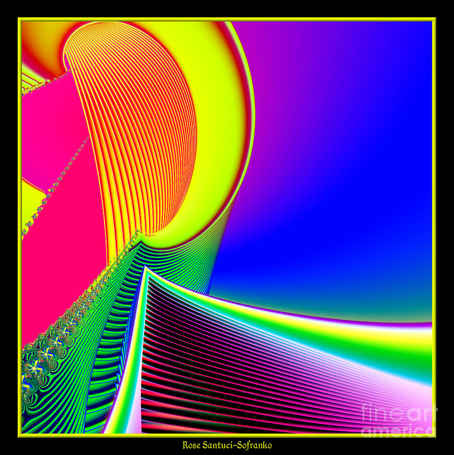 Fluorescent Boat And Giant Wave Fractal 95 Digital Art  - Fluorescent Boat And Giant Wave Fractal 95 Fine Art Print