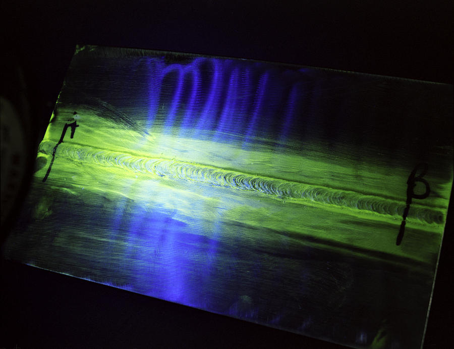 Fluorescent Dye Penetrant Test Results Photograph