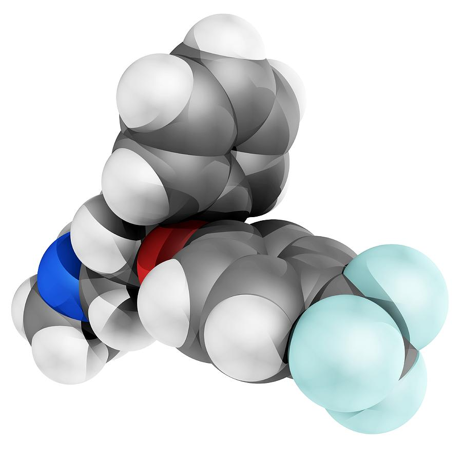 Molecular Photograph - Fluoxetine Antidepressant Drug Molecule by Laguna Design