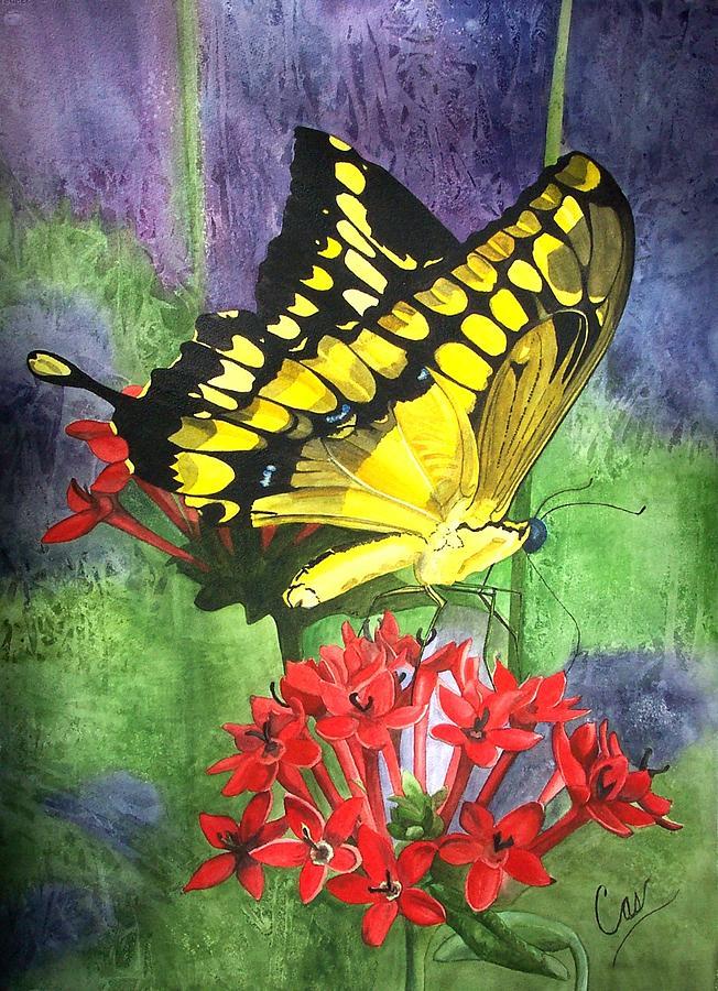 Butterfly Painting - Flutter-by by Karen Casciani