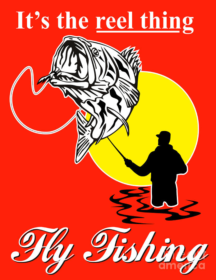 Fly Fisherman Catching Largemouth Bass Digital Art  - Fly Fisherman Catching Largemouth Bass Fine Art Print