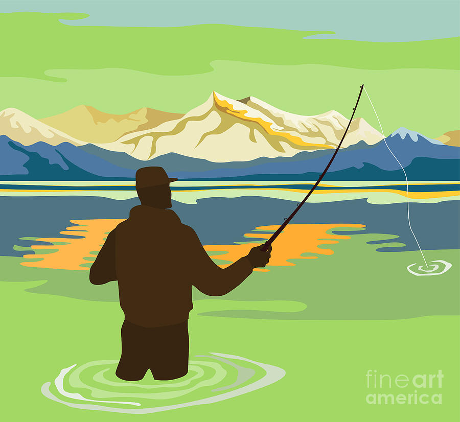 Fly Fisherman Rod And Reel Retro Digital Art