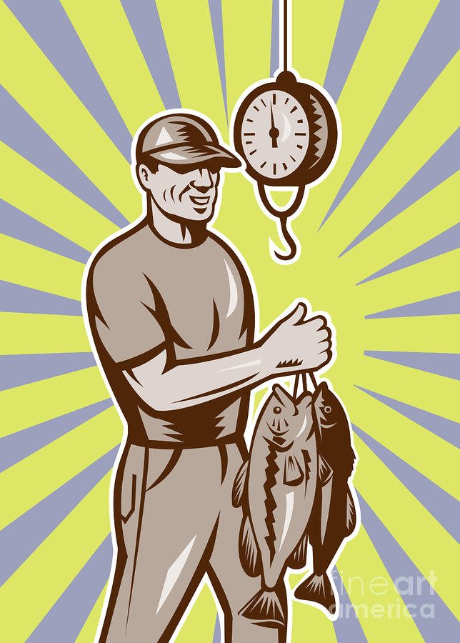 Fly Fisherman Weighing In Fish Catch  Digital Art