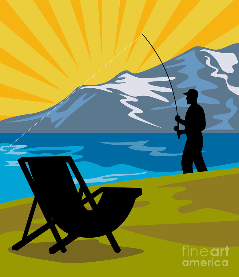 Fly Fishing Digital Art  - Fly Fishing Fine Art Print