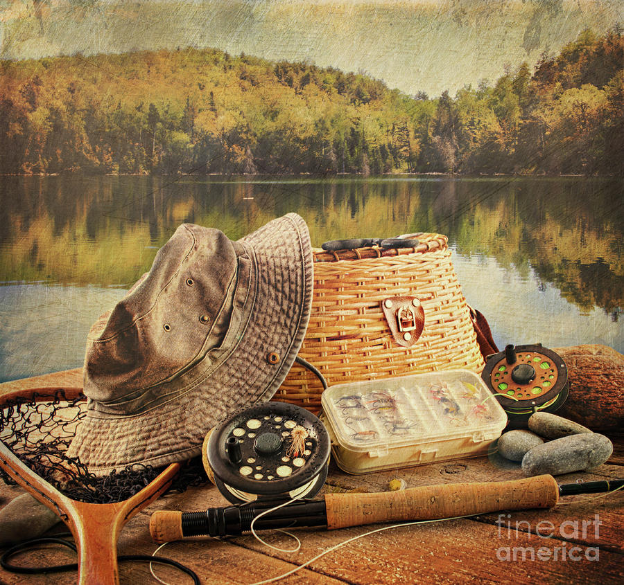 Fly fishing equipment with vintage look sandra cunningham for Fly fishing equipment