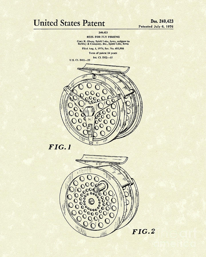 Fly Fishing Reel 1976 Patent Art Drawing  - Fly Fishing Reel 1976 Patent Art Fine Art Print