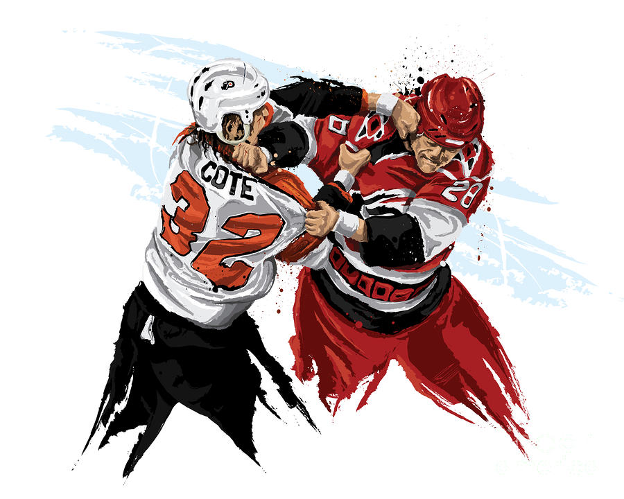 Flyers Enforcer Riley Cote Painting  - Flyers Enforcer Riley Cote Fine Art Print