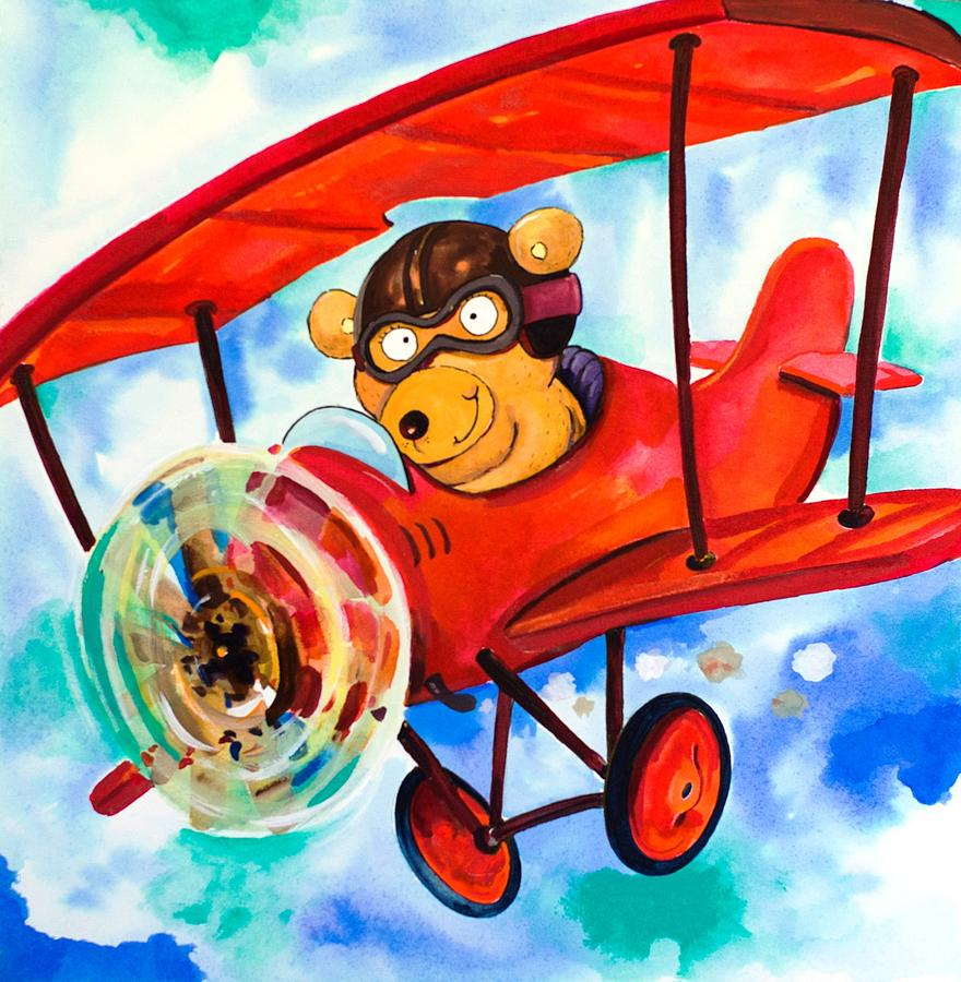 Flying Bear Painting  - Flying Bear Fine Art Print