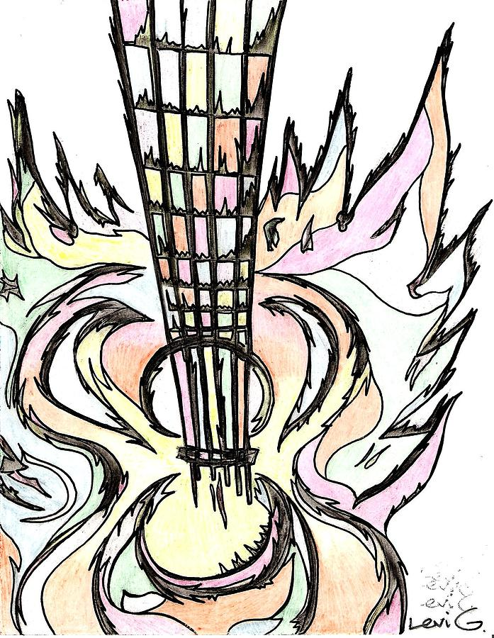 Flying Guitar  Drawing  - Flying Guitar  Fine Art Print