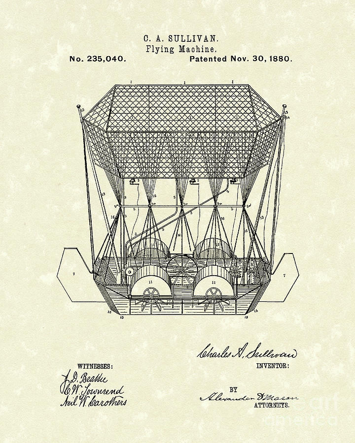 Flying Machine 1880 Patent Art Drawing  - Flying Machine 1880 Patent Art Fine Art Print