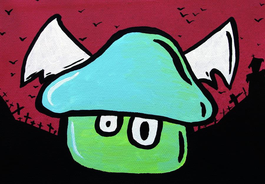 Flying Mushroom Painting