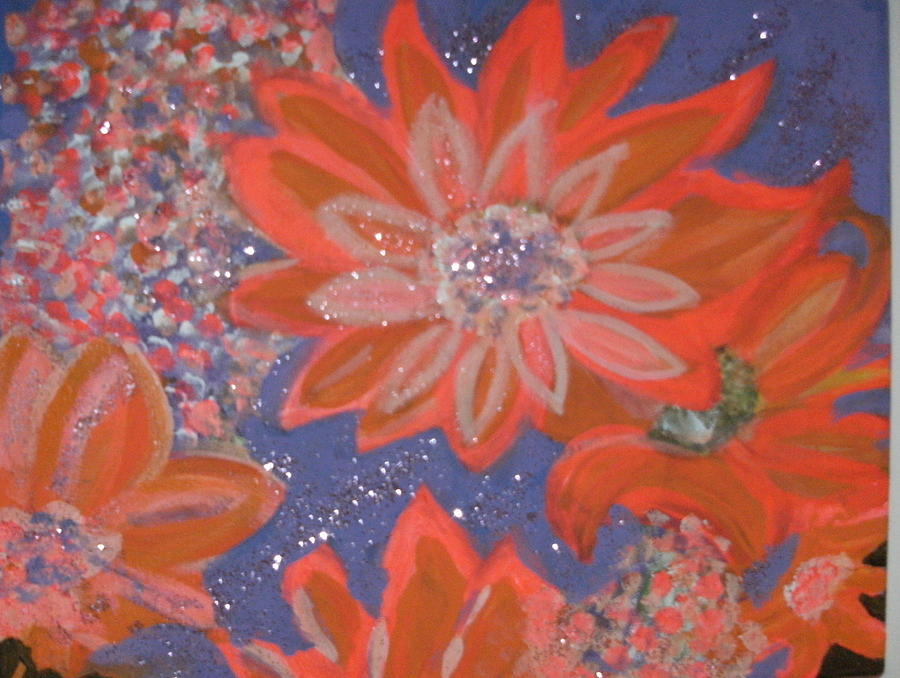 Flying Orange Flowers On Blue Painting  - Flying Orange Flowers On Blue Fine Art Print