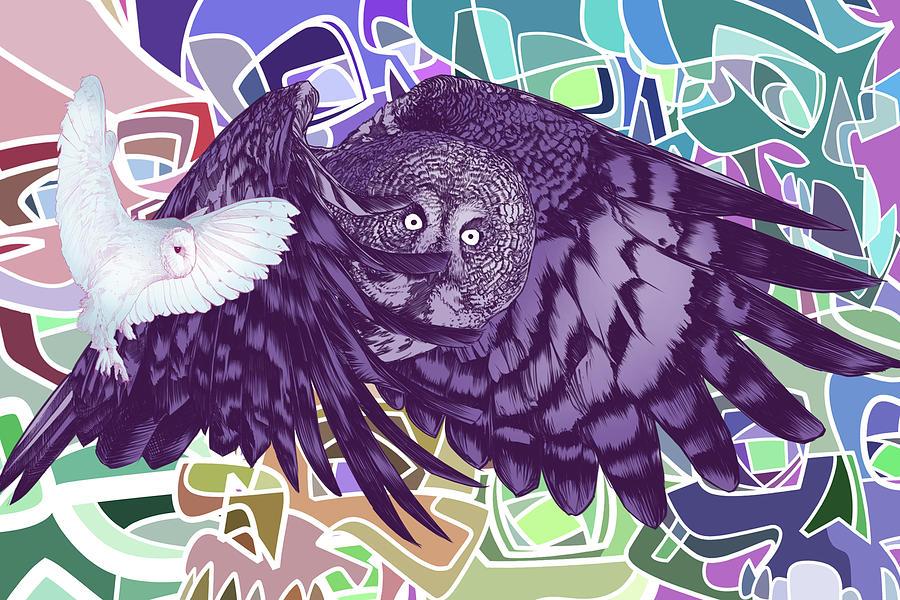 Gypsy Digital Art - Flying Over Skulls by Nelson Dedos Garcia