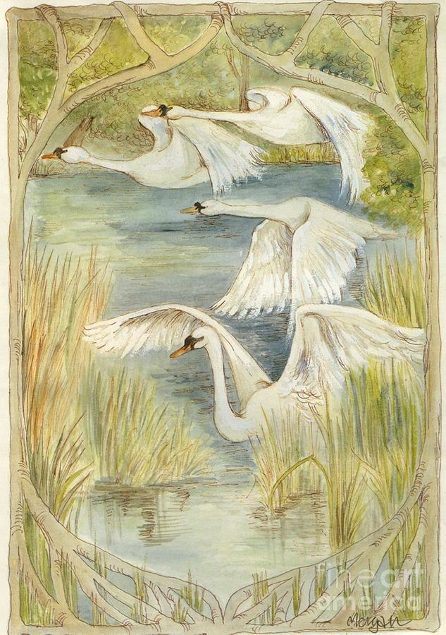 Flying Swans Painting  - Flying Swans Fine Art Print