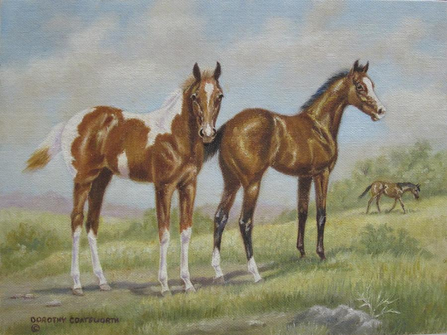 Foals In Pasture Painting  - Foals In Pasture Fine Art Print