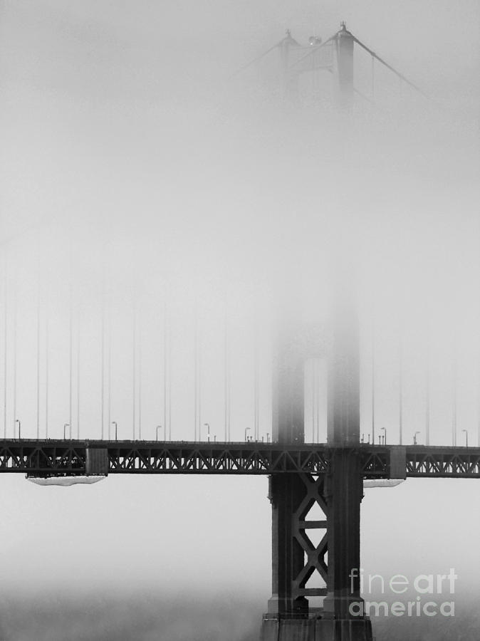 Fog At The Golden Gate Bridge 4 - Black And White Photograph