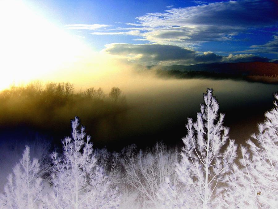Foggy Winter Sunset Digital Art  - Foggy Winter Sunset Fine Art Print
