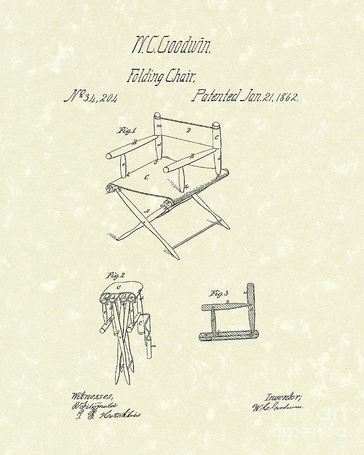 Goodwin Drawing - Folding Chair 1862 Patent Art  by Prior Art Design
