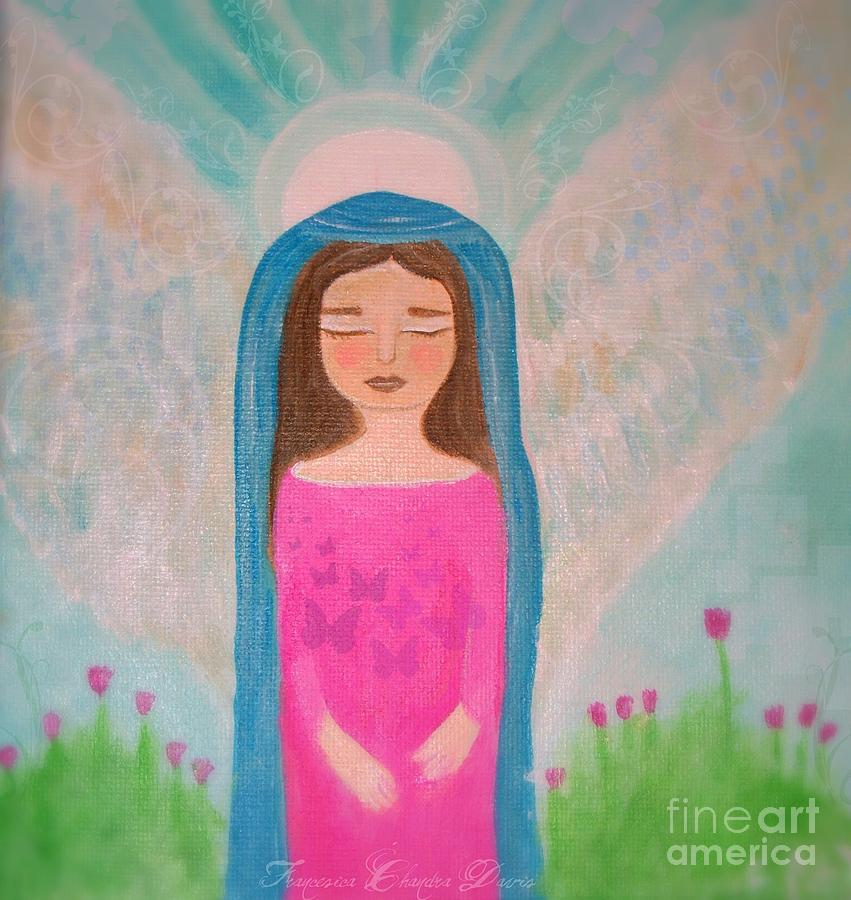 Folk Angel The Gaurdian Painting  - Folk Angel The Gaurdian Fine Art Print