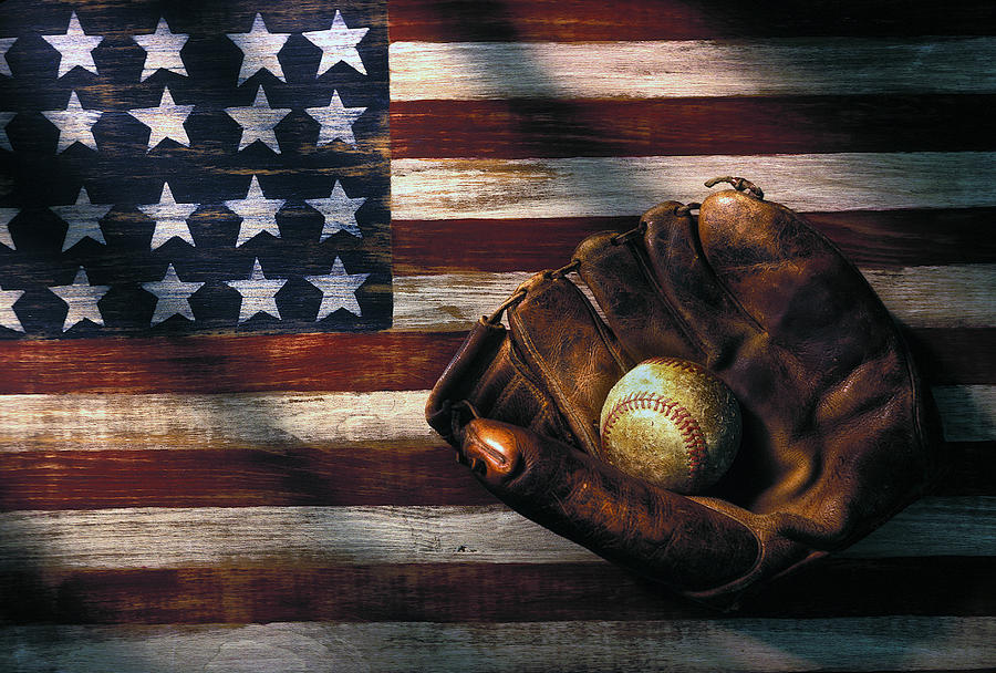Folk Art American Flag And Baseball Mitt Photograph  - Folk Art American Flag And Baseball Mitt Fine Art Print