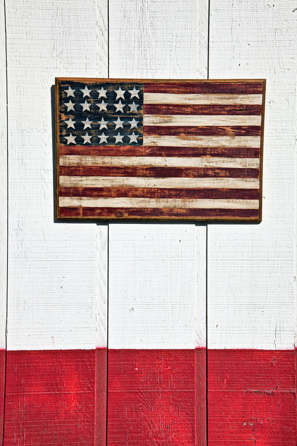 Folk Art American Flag On Wooden Wall Photograph  - Folk Art American Flag On Wooden Wall Fine Art Print