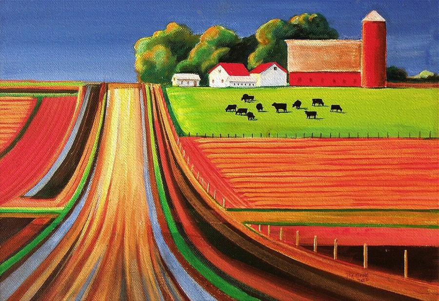 Folk Art Farm Painting  - Folk Art Farm Fine Art Print